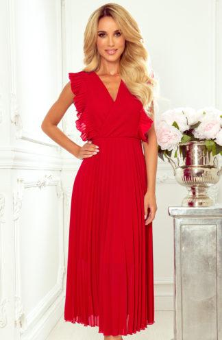 Elegancka plisowana sukienka midi czerwona