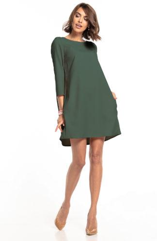 Elegancka trapezowa sukienka khaki