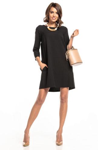 Elegancka trapezowa sukienka czarna