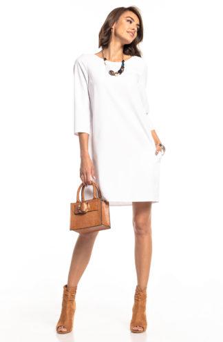 Elegancka trapezowa sukienka biała