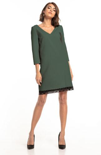 Trapezowa sukienka z koronką khaki