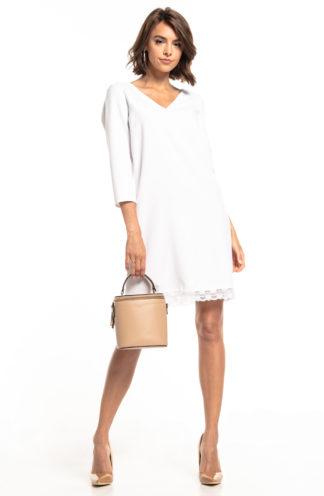 Trapezowa sukienka z koronką biała