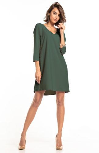 Trapezowa sukienka z dekoltem khaki