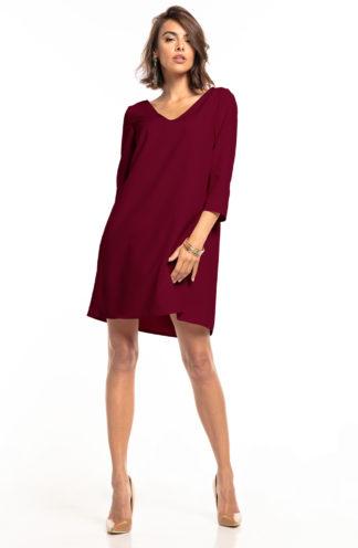 Trapezowa sukienka z dekoltem bordowa