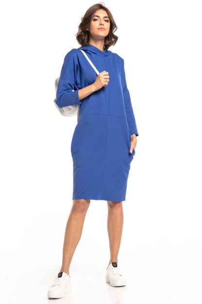 Sportowa sukienka z kapturem niebieska