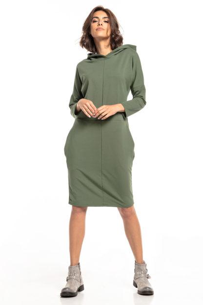 Sportowa sukienka z kapturem zielona