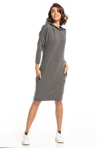 Sportowa sukienka z kapturem szara