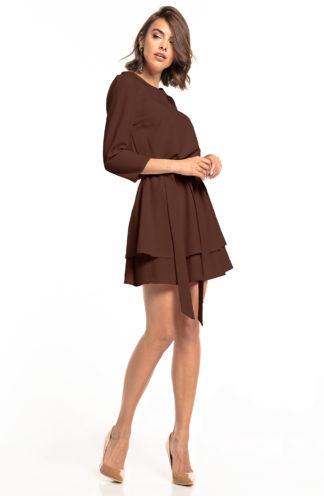 Biznesowa sukienka mini z rękawem brązowa