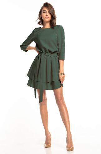 Biznesowa sukienka mini z rękawem khaki