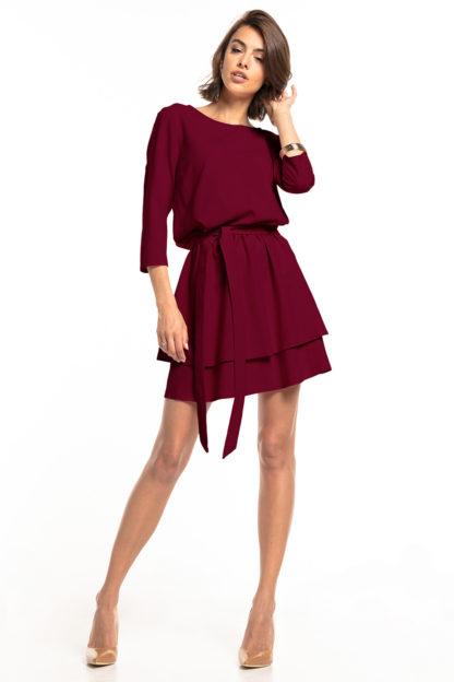 Biznesowa sukienka mini z rękawem bordowa
