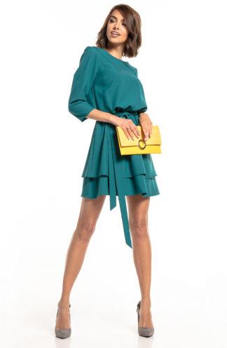 Biznesowa sukienka mini z rękawem szmaragdowa
