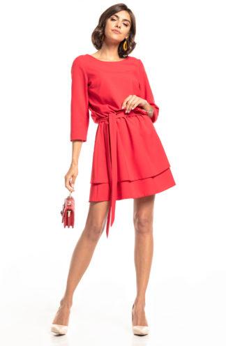 Biznesowa sukienka mini z rękawem malinowa