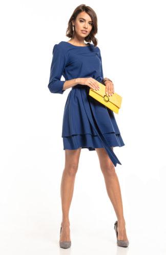 Biznesowa sukienka mini z rękawem granatowa