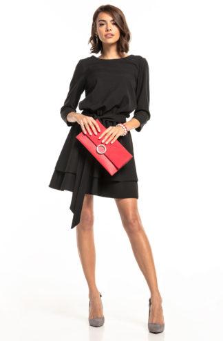 Biznesowa sukienka mini z rękawem czarna