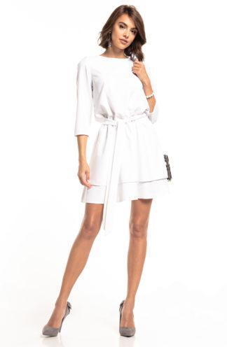 Biznesowa sukienka mini z rękawem biała