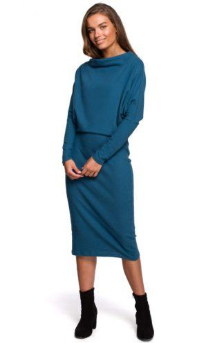 Bawełniana sukienka z luźną górą niebieska