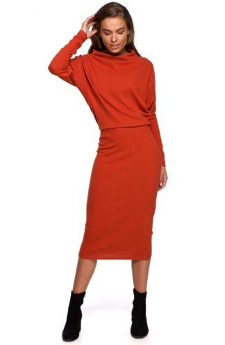 Bawełniana sukienka z luźną górą ruda