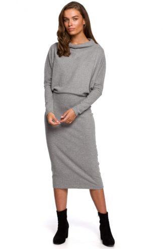 Bawełniana sukienka z luźną górą szara