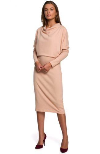 Bawełniana sukienka z luźną górą beżowa