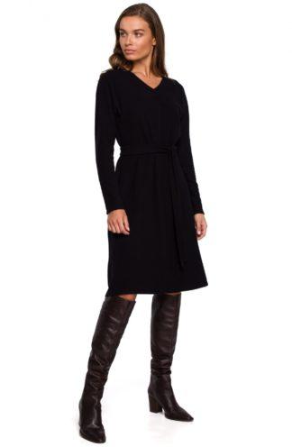 Dzianinowa sukienka z wiązaniem czarna