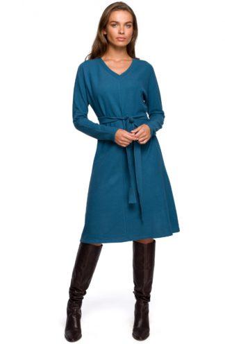 Dzianinowa sukienka z wiązaniem niebieska