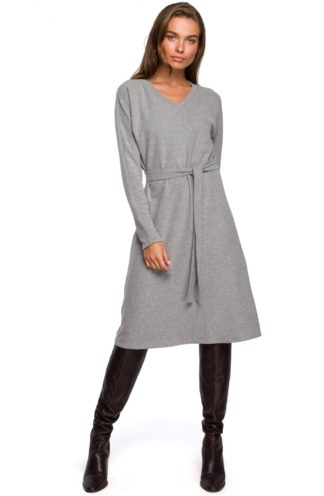 Dzianinowa sukienka z wiązaniem szara