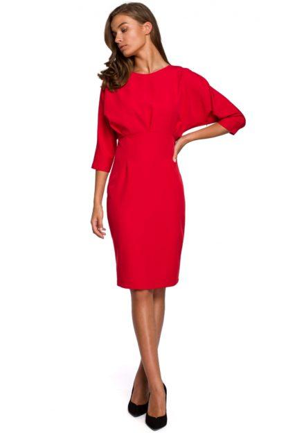 Sukienka z kimonowymi rękawami czerwona