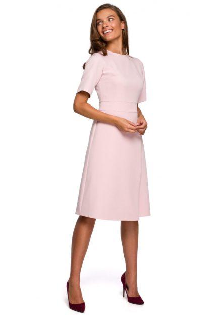 Elegancka sukienka z kopertowym dołem różowa