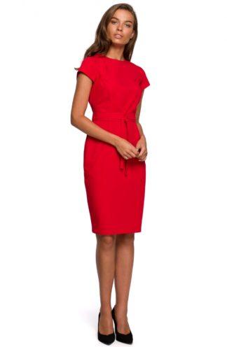 Ołówkowa sukienka z przeszyciami czerwona