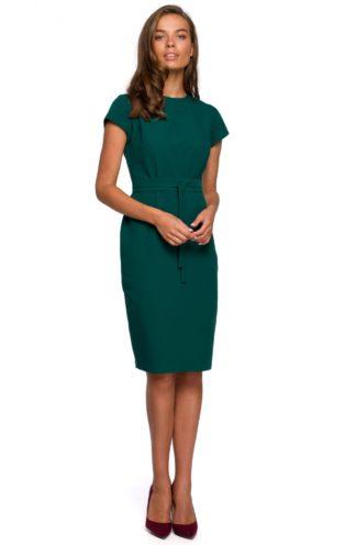Ołówkowa sukienka z przeszyciami zielona