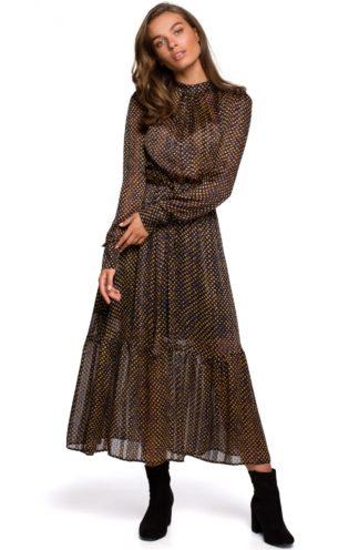 Szyfonowa sukienka maxi z wiązaniem granatowa