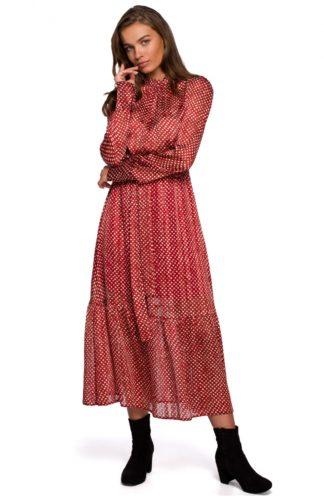 Szyfonowa sukienka maxi z wiązaniem czerwona
