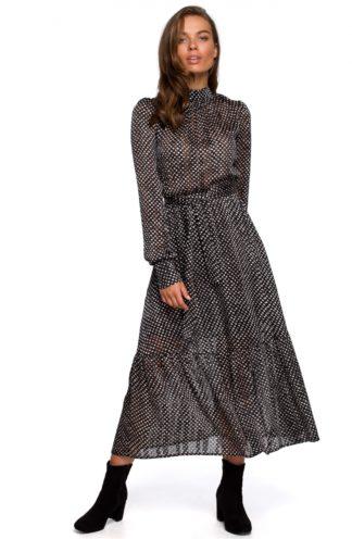 Szyfonowa sukienka maxi z wiązaniem czarna