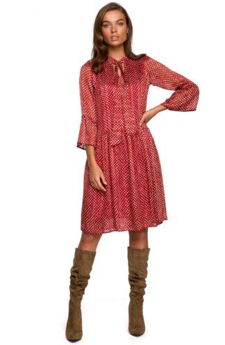 Szyfonowa sukienka z wiązaniem czerwona