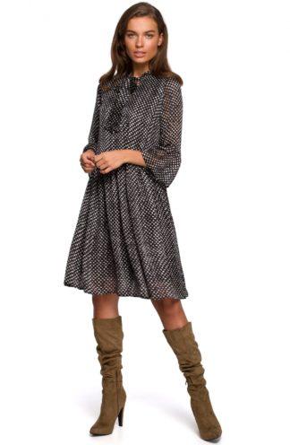 Szyfonowa sukienka z wiązaniem czarna