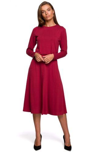 Rozkloszowana sukienka midi z rękawami bordowa