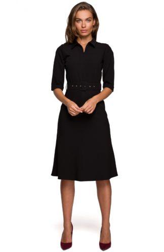 Elegancka sukienka z kołnierzykiem czarna