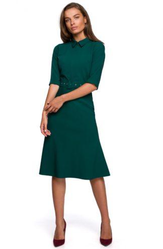 Elegancka sukienka z kołnierzykiem zielona