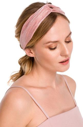 Plisowana opaska do włosów różowa