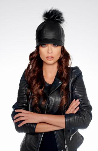 Skórzana czapka z daszkiem czarna PREMIUM