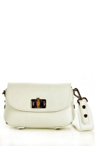 Skórzana torebka na szerokim pasku biała