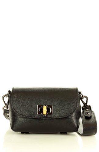 Skórzana torebka na szerokim pasku czarna
