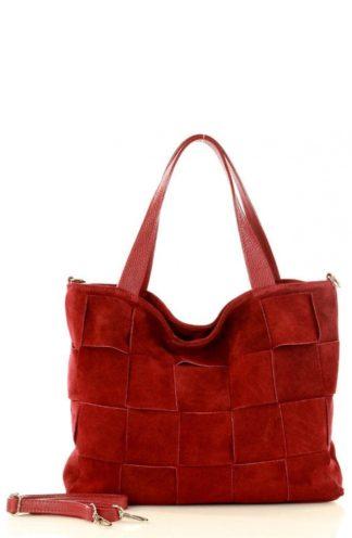Pleciona torebka z zamszu czerwona