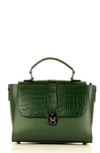 Torebka kuferek z wzorem krokodyla zieleń