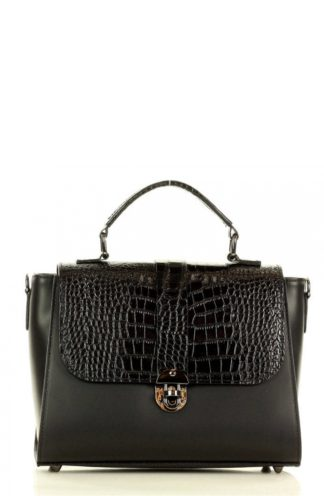Torebka kuferek z wzorem krokodyla czarna