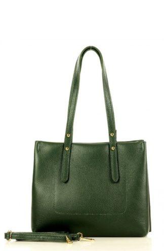 Skórzana torebka na ramię zielona