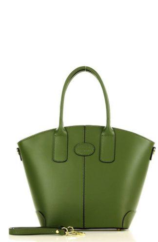 Trapezowa torebka ze skóry zielona