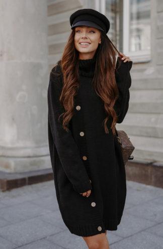 Swetrowa sukienka z golfem i guzikami czarna