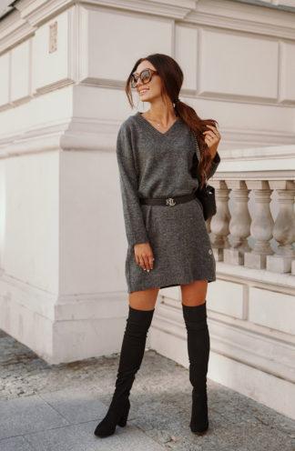 Swetrowa sukienka z dekoltem grafitowa