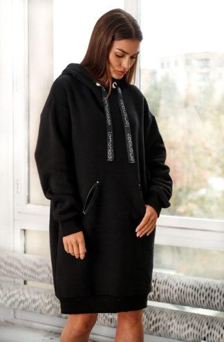 Długa bluza z kapturem czarna